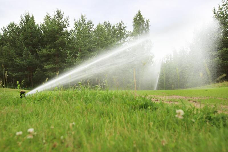 water sprinkler system working